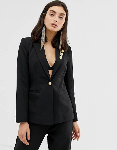 Unique21 tailored single button blazer with gold buttons on lapel