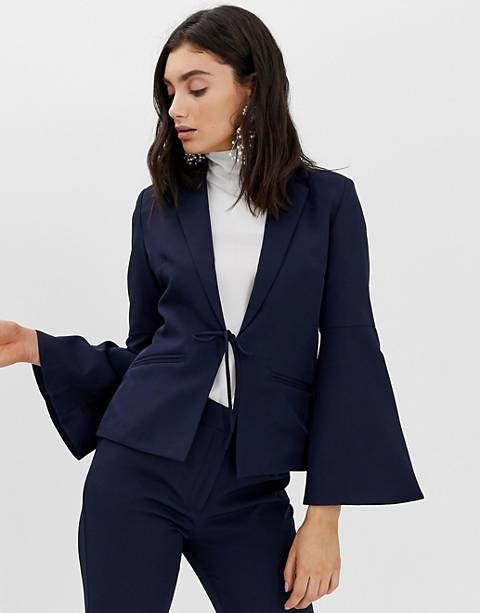 Unique21 tailored tie blazer with flute sleeves