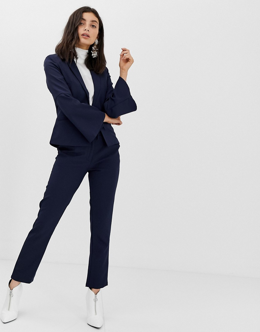 Unique21 Tailored Tie Blazer With Flute Sleeves by Unique 21