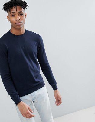 United Colors of Benetton - Maglione girocollo lavorato in 100% cotone blu navy