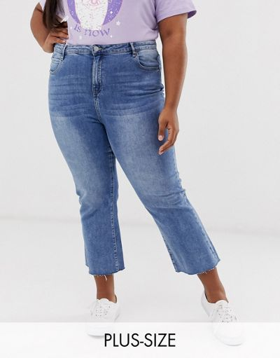 Urban Bliss Plus cropped kicked flare jeans