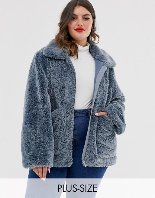 Urban Bliss Plus – Płaszcz ze sztucznego futra zapinany na zamek z wysokimi mankietami
