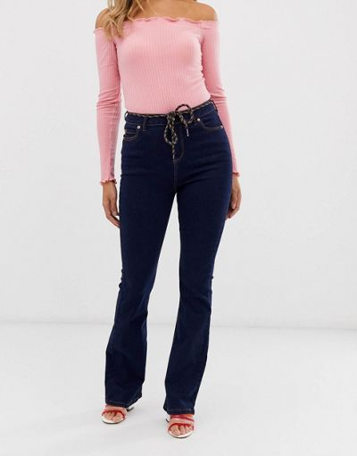 Urban Bliss rinse wash kick flare jeans with rope belt detail and raw hem