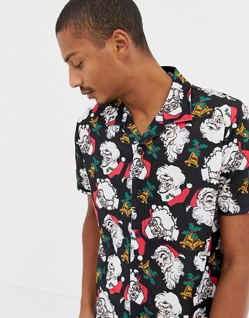 9da747cc1 Urban Threads christmas short sleeve rever collar shirt in santa | ASOS