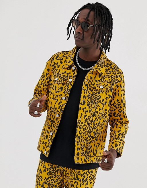 Urban Threads leopard print denim jacket