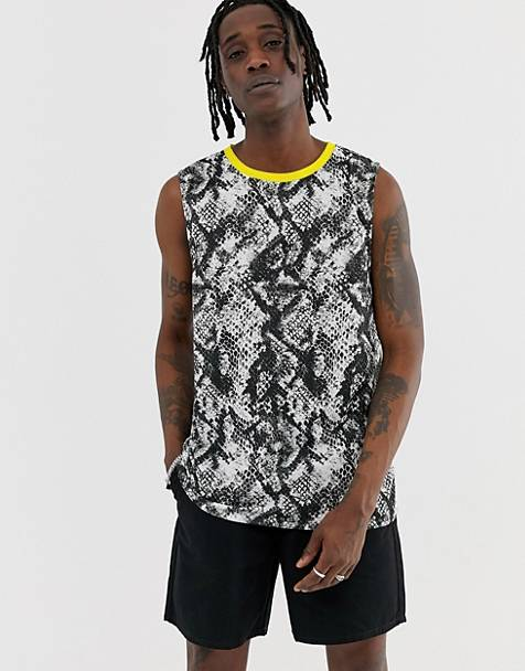Urban Threads snake sleeveless t-shirt tank with neon trim