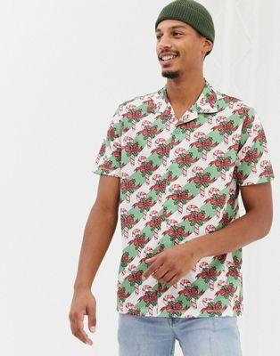 Bild 1 von Urban Threads – Weihnachten – Kurzärmliges Hemd mit Zuckerstangen-Motiv und Reverskragen