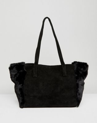Urbancode Black Suede And Faux Fur Shopper