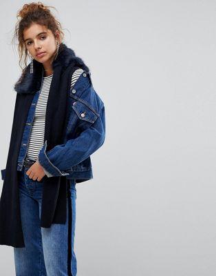 Urbancode - Écharpe enveloppante en tricot avec col en fausse fourrure