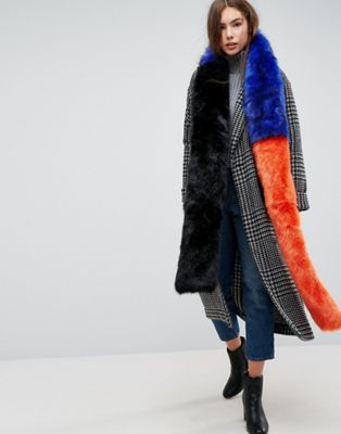 Urbancode Extra Long Color Block Faux Fur Scarf