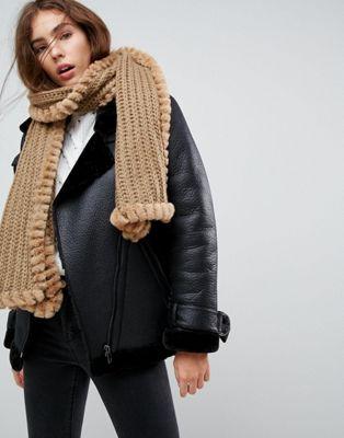 Urbancode - Gebreide sjaal met rand van imitiatiebont