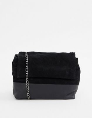 Urbancode leather cross body bag with suede contrast