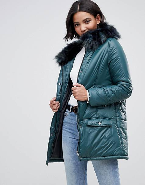 1734647b6c10 Urbancode parka coat with onion quilting and faux fur hood