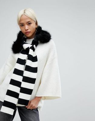 Urbancode Stripe Knitted Scarf With Detachable Faux Fur Collar