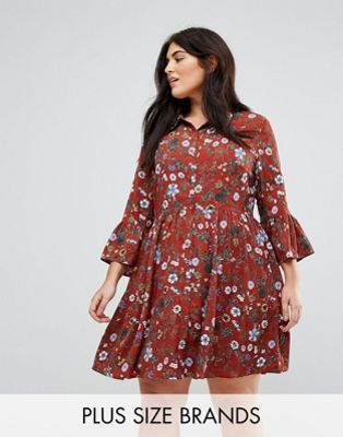 Uttam Boutique Plus Floral Skater Dress With Button Front
