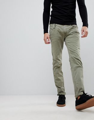 Узкие джинсы цвета хаки Replay Anbass