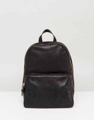 Image 1 of Vagabond Mini Leather Backpack in Black