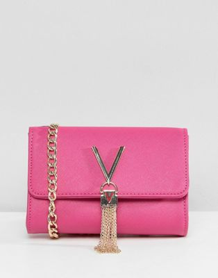 Valentino by Mario Valentino Foldover Tassel Cross Body Bag in Pink