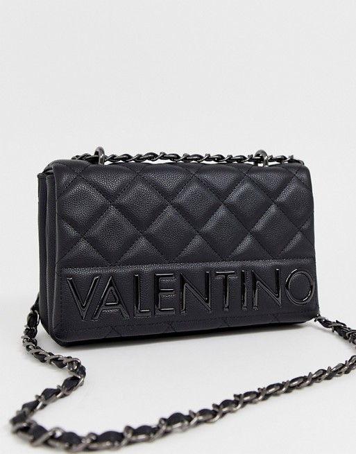 Valentino by Mario Valentino Licia quilted foldover shoulder bag in black