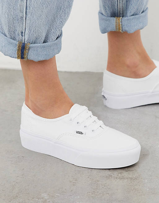 Vans Authentic - Sneakers bianche con plateau
