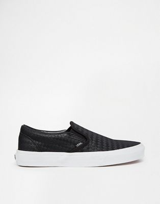 Vans Classic Embossed Black Weave Slip On Trainers
