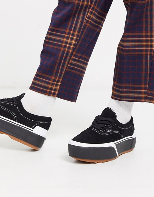 Vans Era Stacked suede sneakers in black