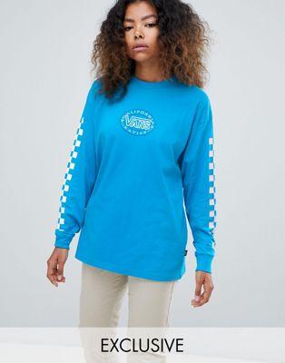 Vans - Exclusive Blue Archive - Geruit T-shirt met lange mouwen
