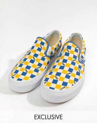 Vans – Factory Pack – Gelbe Stoffschuhe zum Hineinschlüpfen mit Schachbrettmuster, exklusiv bei ASOS