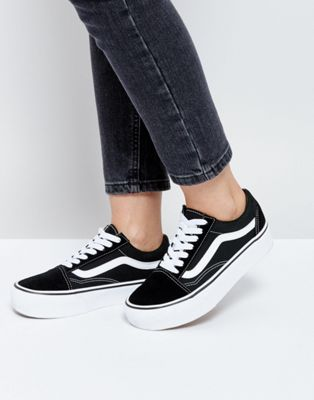 Vans Old Skool Platform Sneakers In Black And White