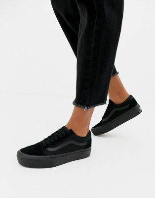Vans - Old Skool - Sneakers nero triplo con plateau