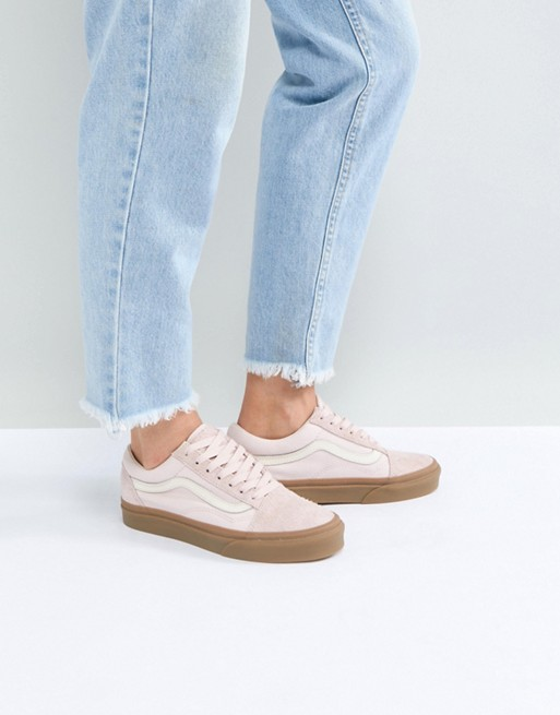 e1034810e4 Image 1 of Vans Old Skool Trainers In Pink Fuzzy Suede With Gum Sole