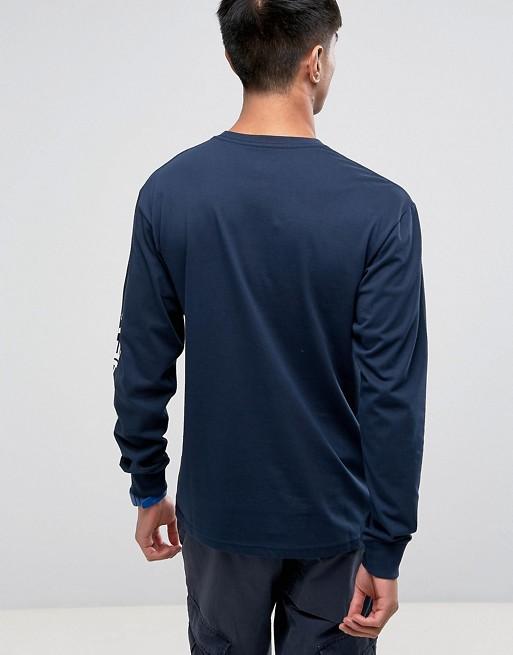 db83e12f21 Vans Side Waze Long Sleeve T-Shirt With Arm Print In Navy VA36GBNVY