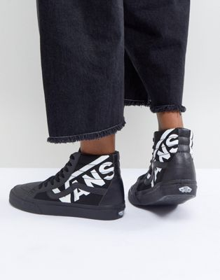 Image 1 of Vans Sk8-Hi Sneakers In Black With Large Logo