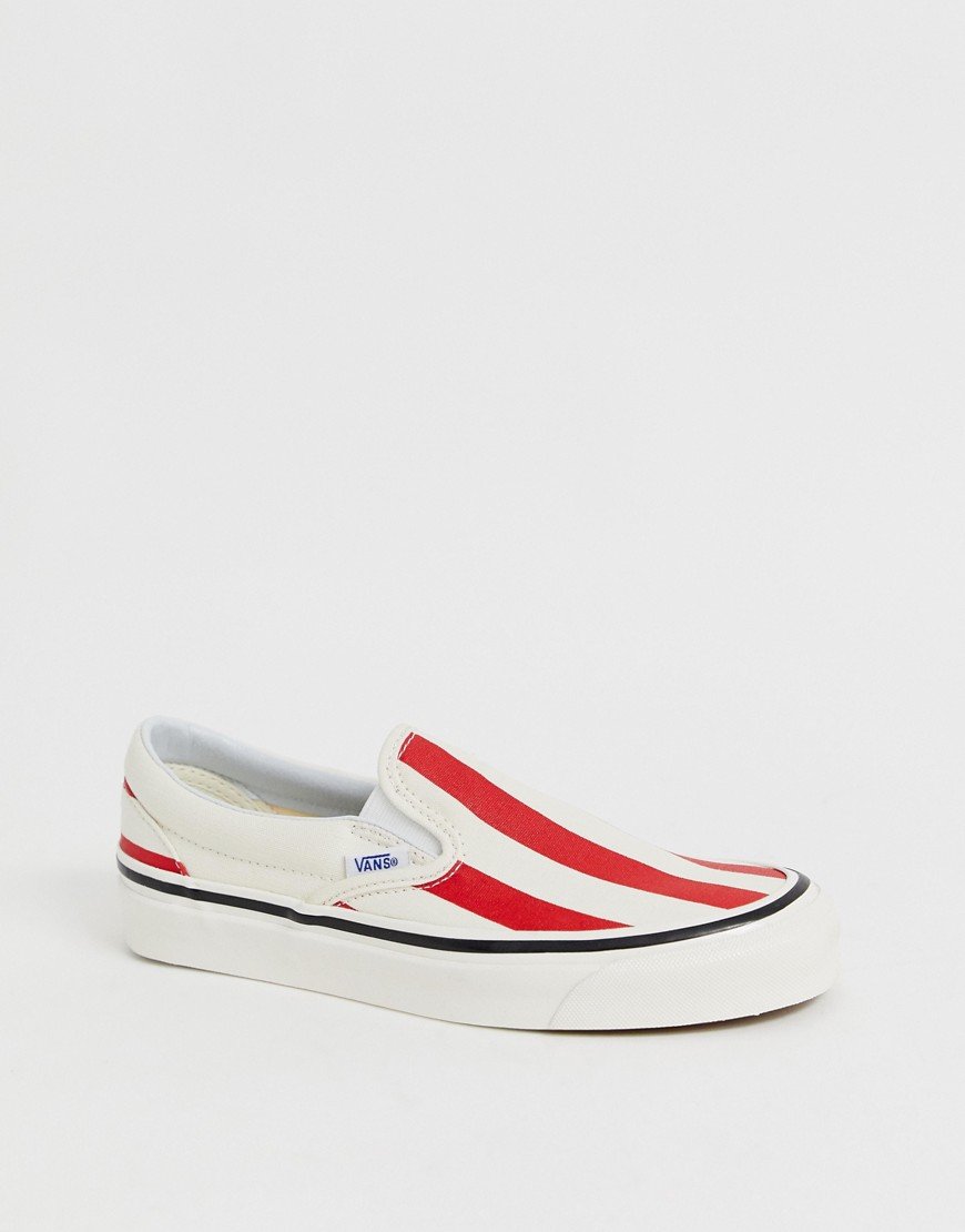Vans Slip On 98 Dx Anaheim Red Stripe Sneakers by Vans