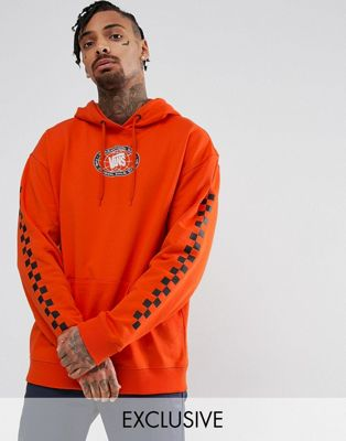 Vans Sole Pullover Hoodie With Arm Print In Orange Exclusive To ASOS