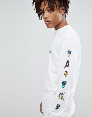 Vans x Marvel Long Sleeve T-Shirt With Characters Print In White VA3HURWHT