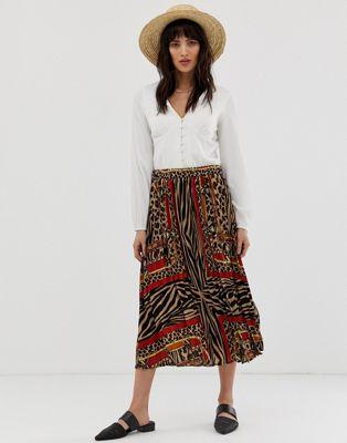 Vero Moda animal scarf print pleated midi skirt