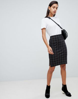 Vero Moda Check Midi Skirt
