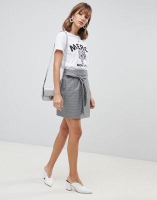 Vero Moda Check Wrap Front Belted Mini Skirt