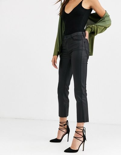 Vero Moda coated kick flare jean
