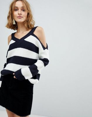 Vero Moda Cold Shoulder Striped Jumper