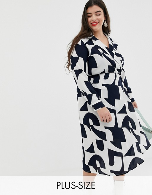 Vero Moda Curve geo print shirt midi dress
