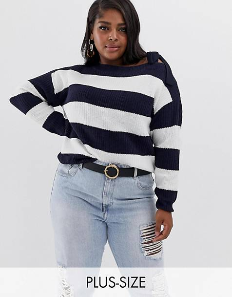 Vero Moda curve stripe tie detail cold shoulder sweater