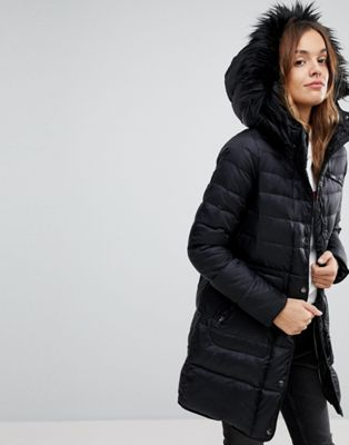 Vero Moda Down Longline Padded Jacket With Faux Fur Collar