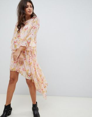 Vero Moda Floral Asymetric Dress With Ruffle Hem
