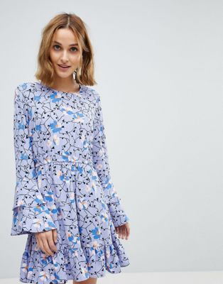 Vero Moda Floral Dress With Ruffle Sleeve Detail
