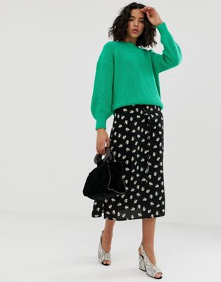 Image 1 of Vero Moda floral midi skirt with lacing detail