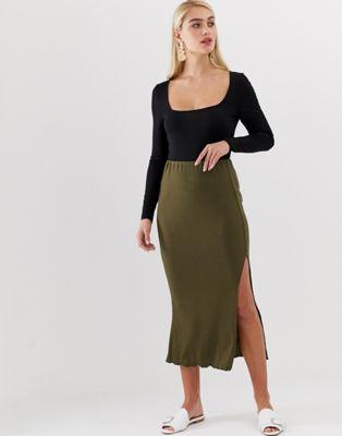 Vero Moda green rib maxi skirt with lettuce hem