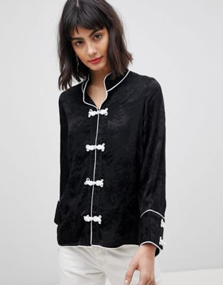 Vero Moda Jacquard Blouse With Frogties