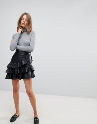 Vero Moda Leather Look Ruffle Skirt
